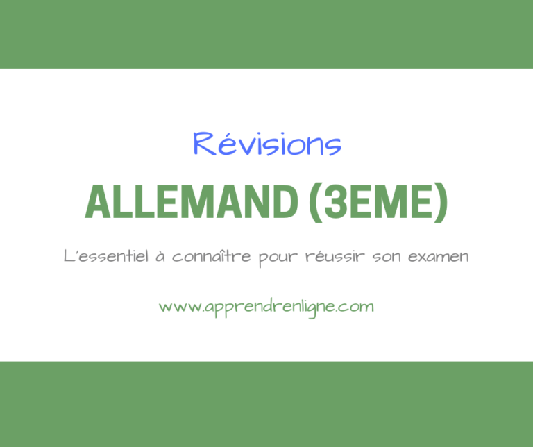 REVISION ALLEMAND 3EME